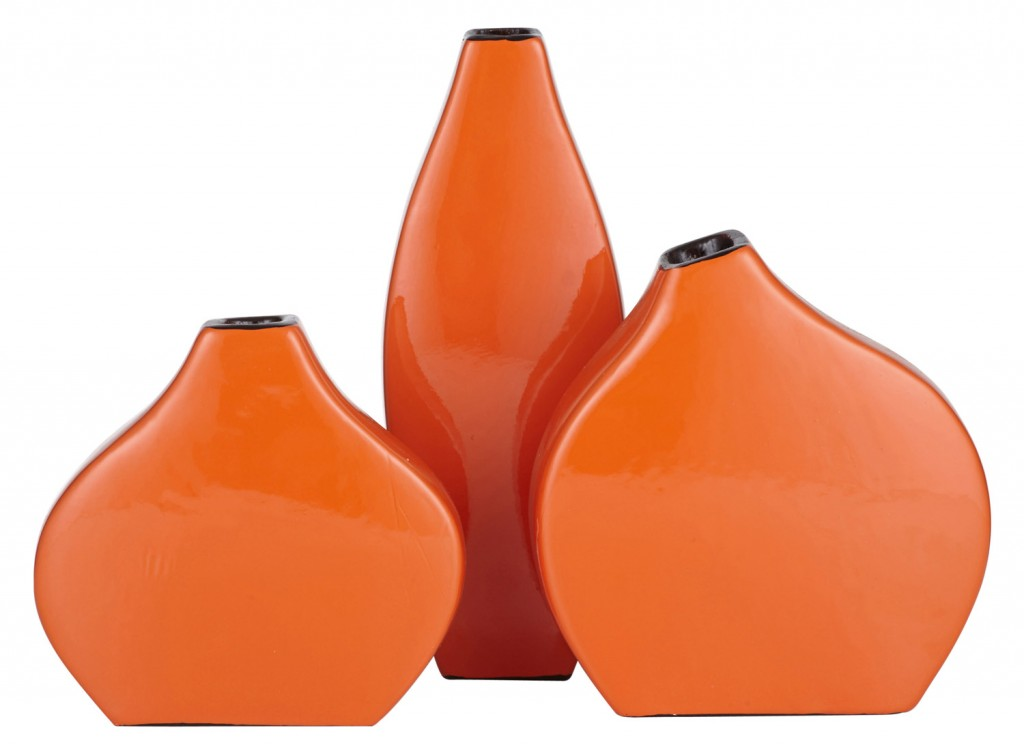 Lilliput set of three lacquered tangerine vases from Amalfi www.amalfihomewares.com.au