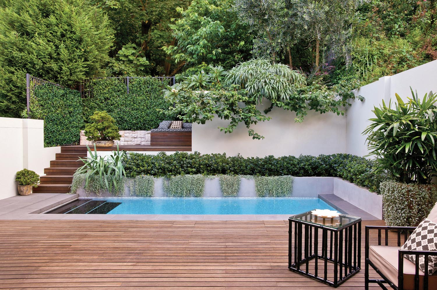 Backyard oasis an elegant escape completehome for Garden oases pool
