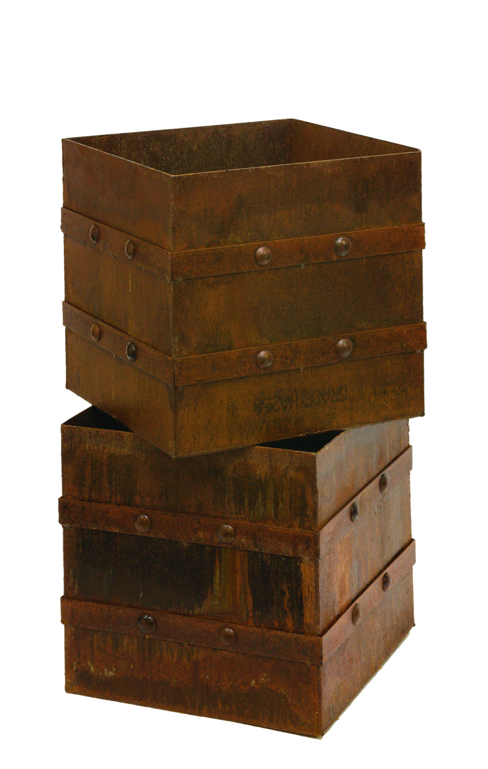 Square Rivet planters with slightly elevated feet from Entanglements www.entanglements.com.au
