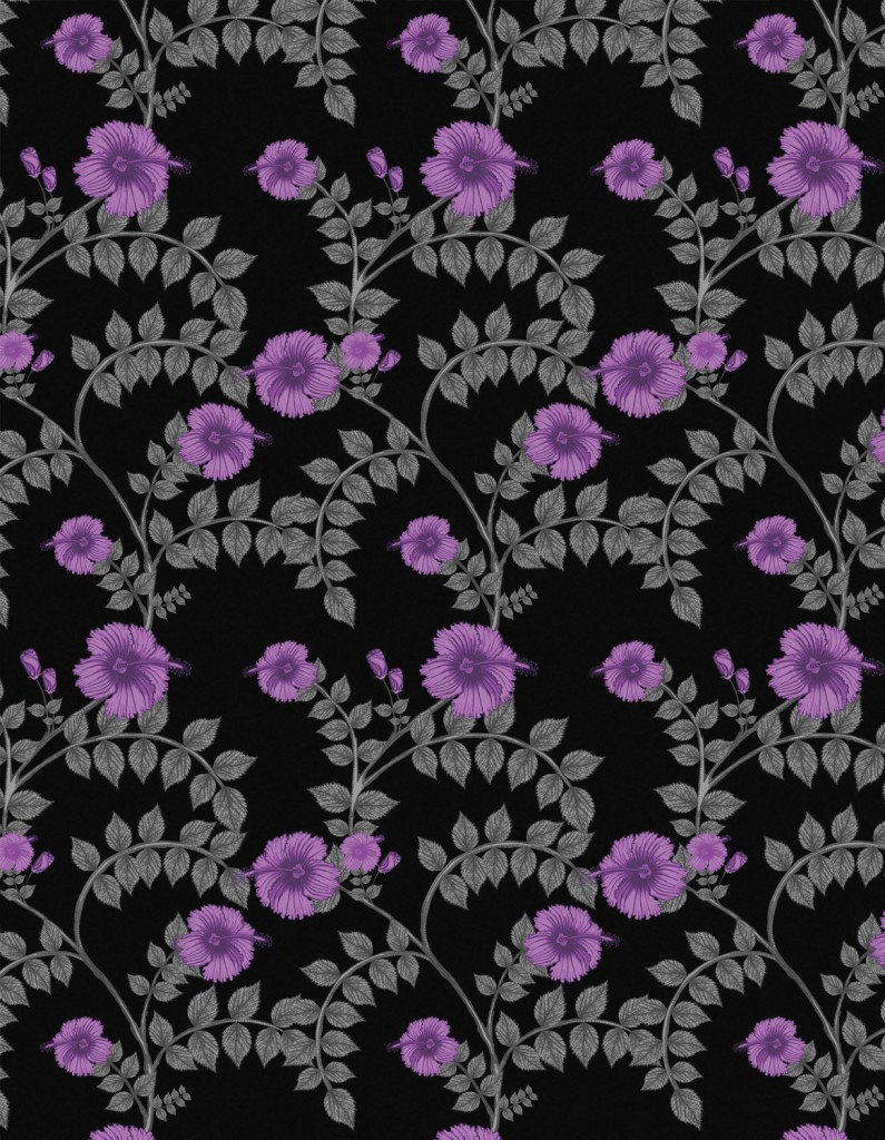 Hibiscus Swirl wallpaper in Purple Noir by Funky Wombat Textiles, $260, theelephantroom.com.au