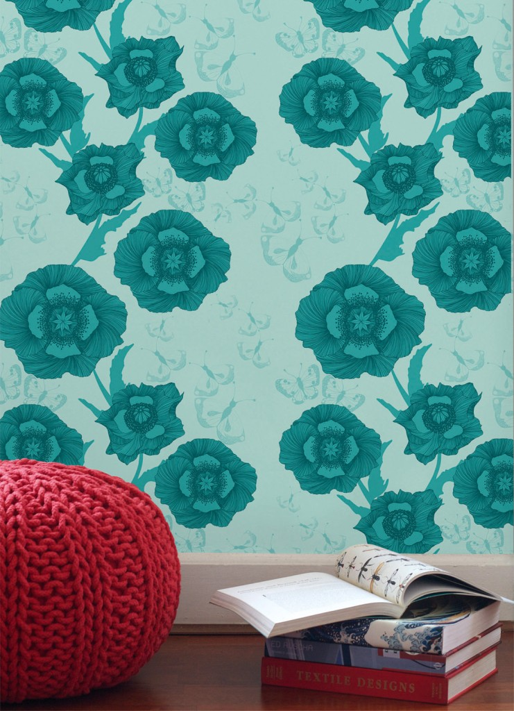 Poppy Flower wallpaper, from $359.95, wallpaperantics.com.au