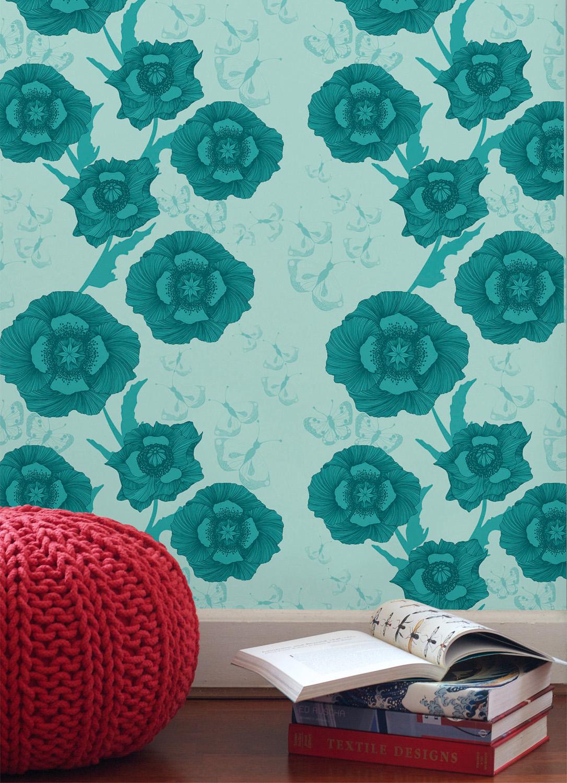 Poppy Flower wallpaper, from $359.95, wallpaperantics.com.au