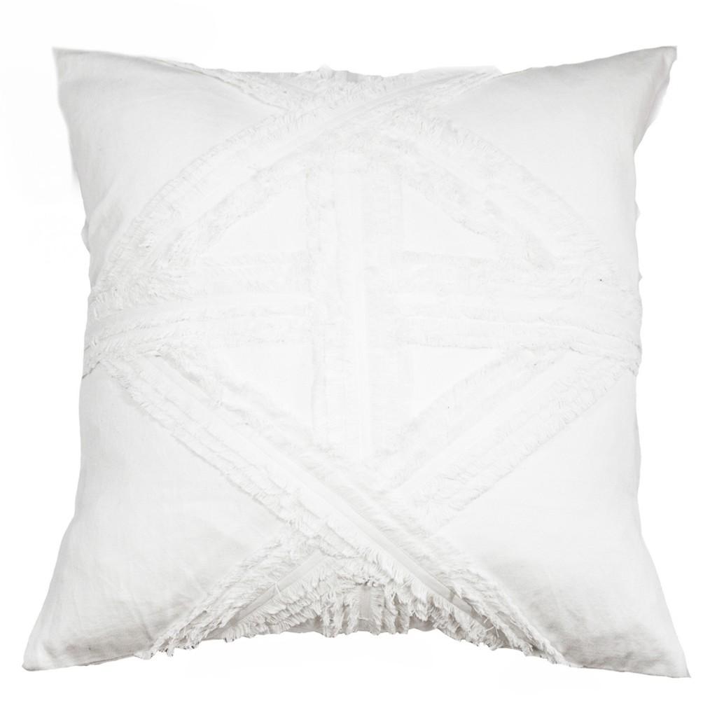 Fringed white lounge cushion, bandhini.com.au