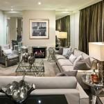 Metallic accents create an opulent living area