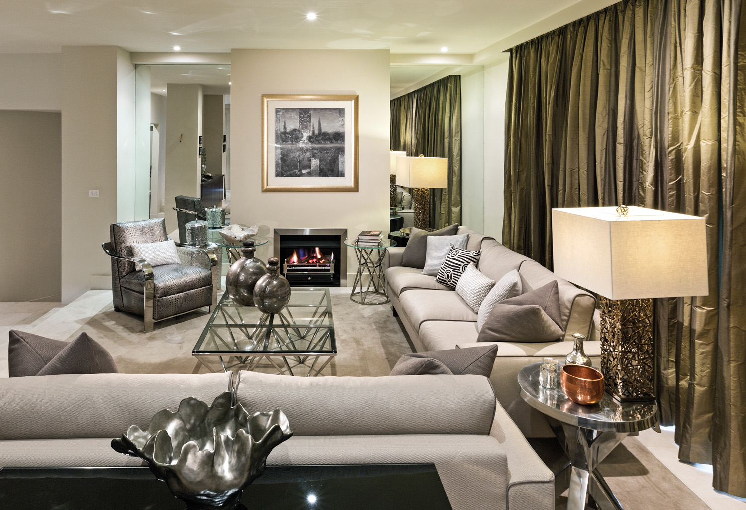 Metallic accents create an opulent living area