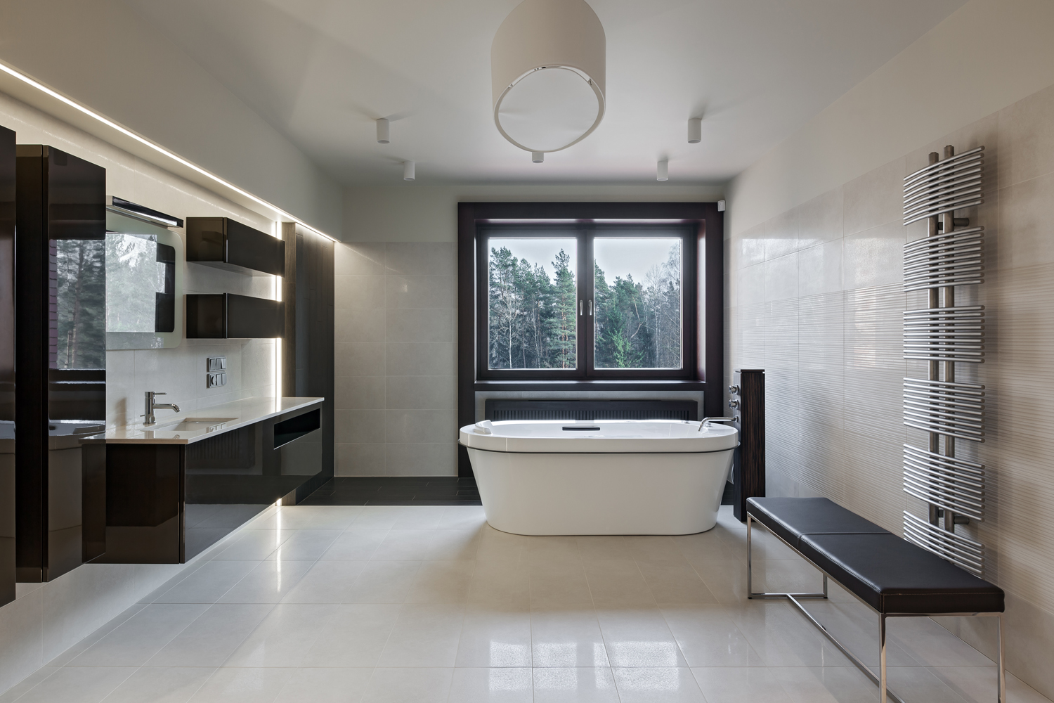 Interior of modern luxury minimalistic bathroom with window