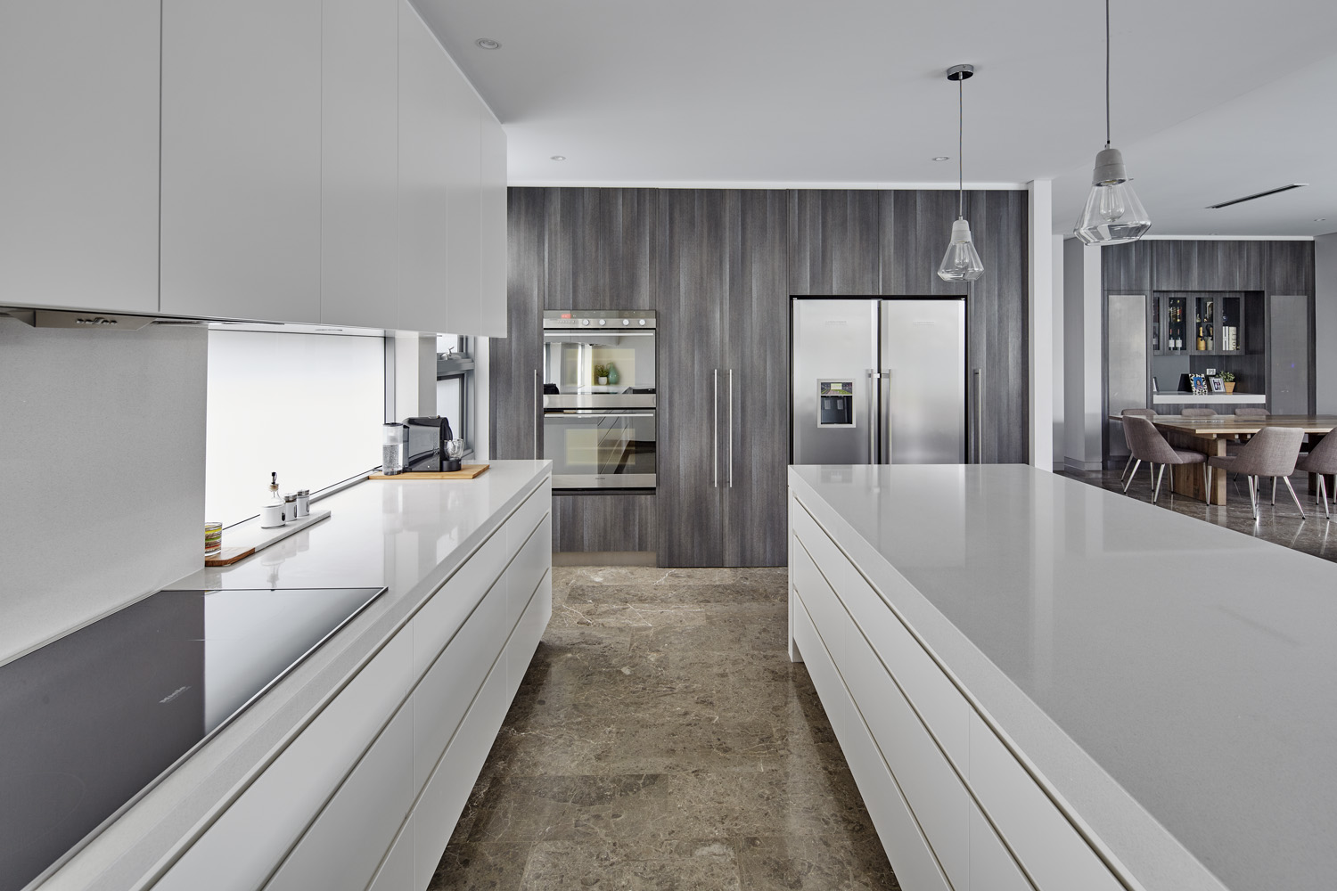 We love: The grey marble flooring which adds a luxurious touch to the space