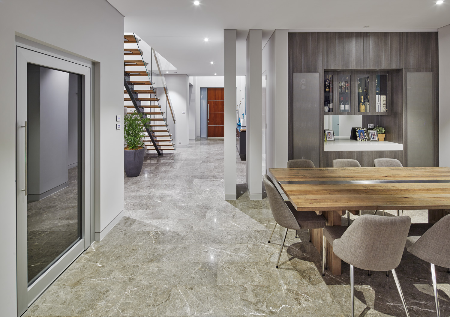 The open-plan layout of the home creates a spacious atmosphere