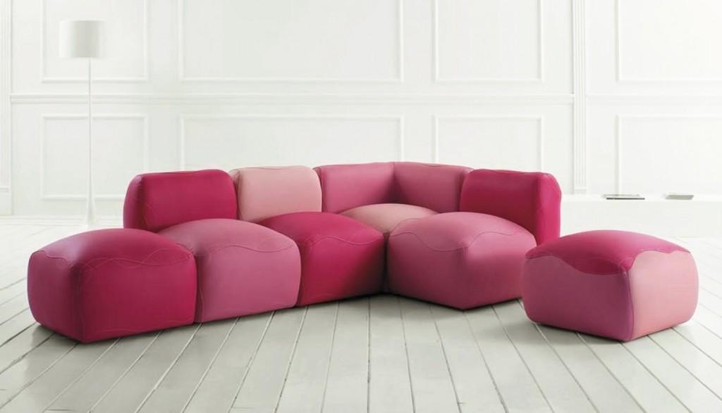 Kivas modular sofa in pink by Karim Rashid