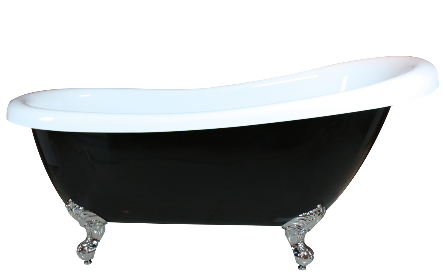 Lawson bath, claw-foot old world black and white bathtub