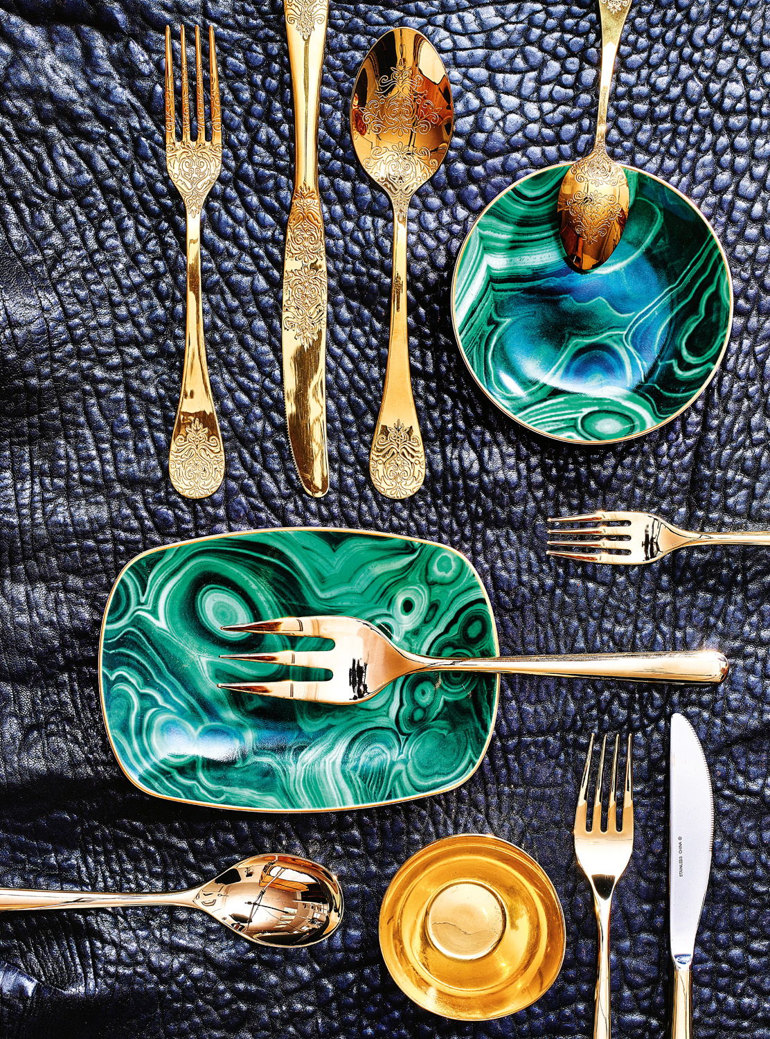 Pompadour gold (filigree) 24-piece set. L'Object malachite plates from beckerminty.com Cambridge soiree two-piece server set and five-piece place setting from. Small brass cloud bowl