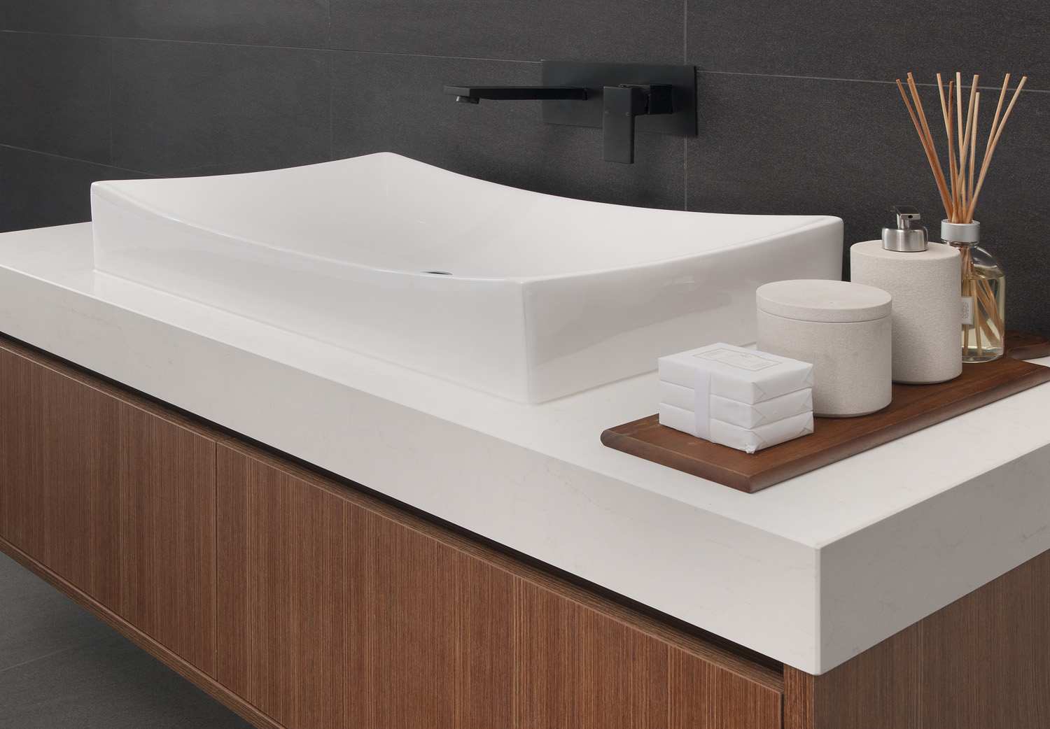 Relax in the eco-bathroom. Certified in all six elements of EnviroDevelopment, including AAA-rated tapware (2)
