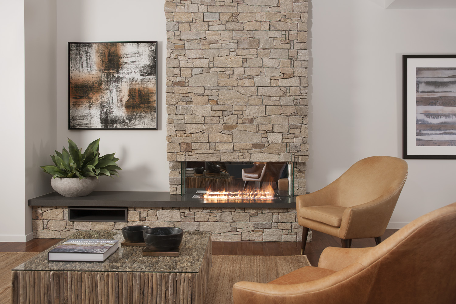 Relaxing space with fireplace inside the eco-friendly home (1)