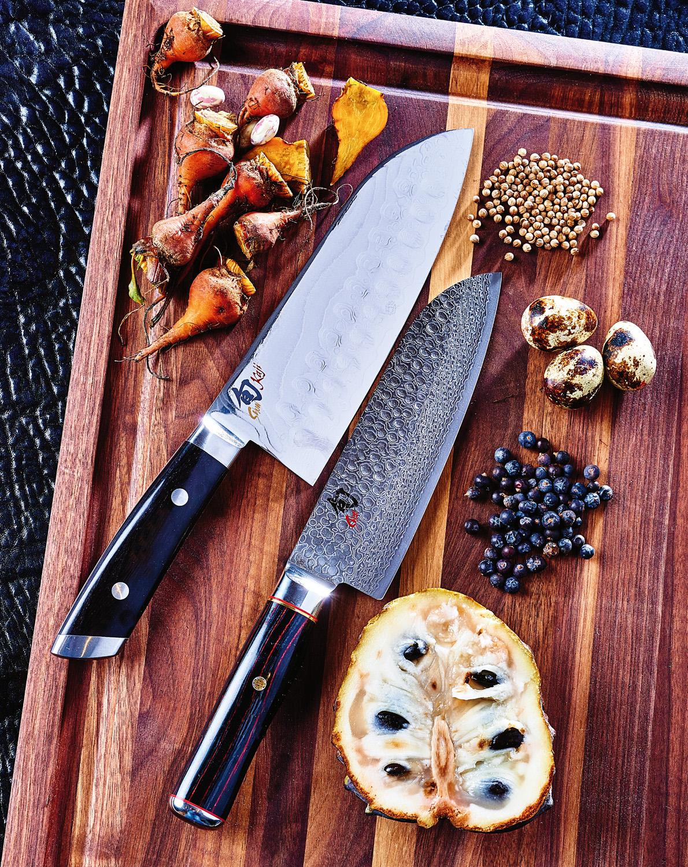 Shun Kaji double hollow-ground sumo santoku 7.5-inch knife, Shun Hiro santoku 7-inch knife and walnut-edge grain carving board