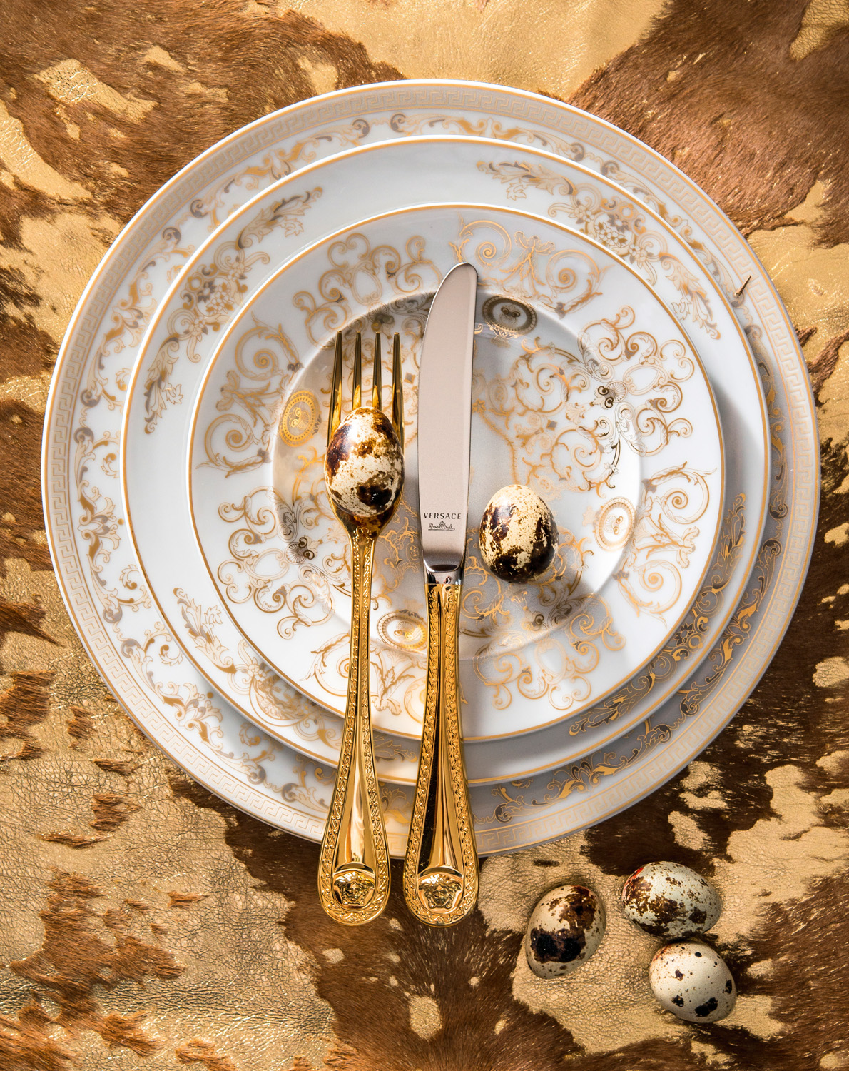 Versace Home Medusa gala 18cm, 22cm and 27cm plates and Medusa gold dinner fork and knife