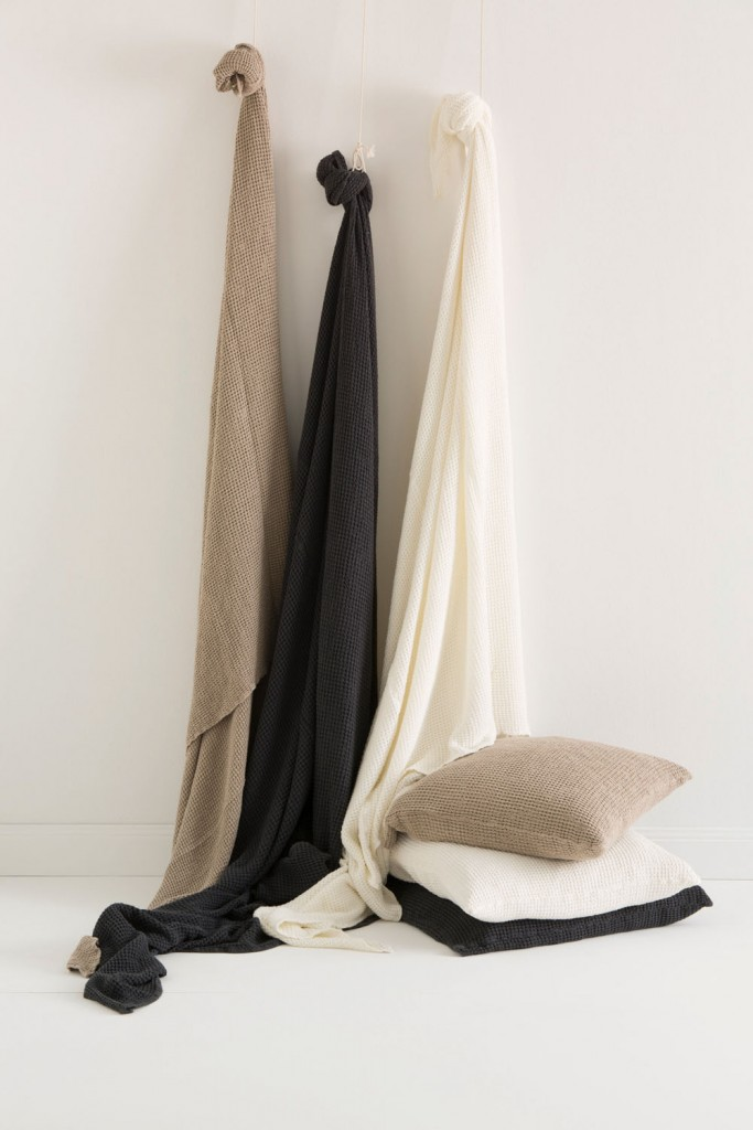 Linen–cotton waffle coverlets, $250, and European pillowcases, $89, inthesac.com.au