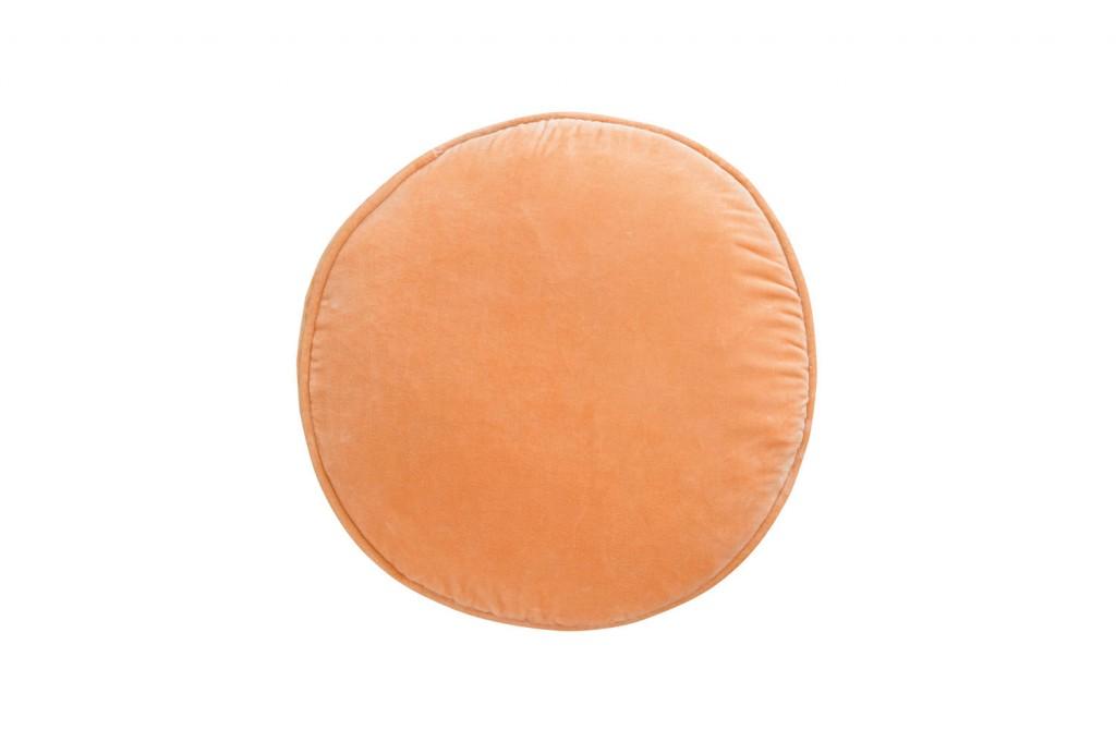 Peach velvet Penny Round cushion cover, castleandthings.com.au