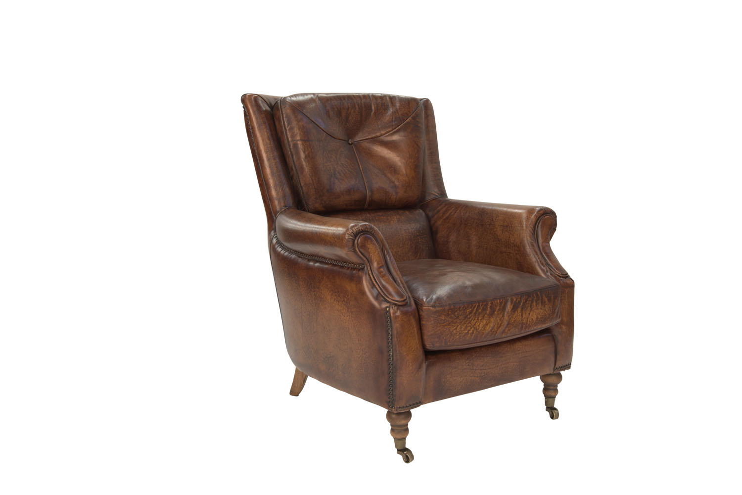 Cambridge wingback chair in aged leather, canalside.com.au