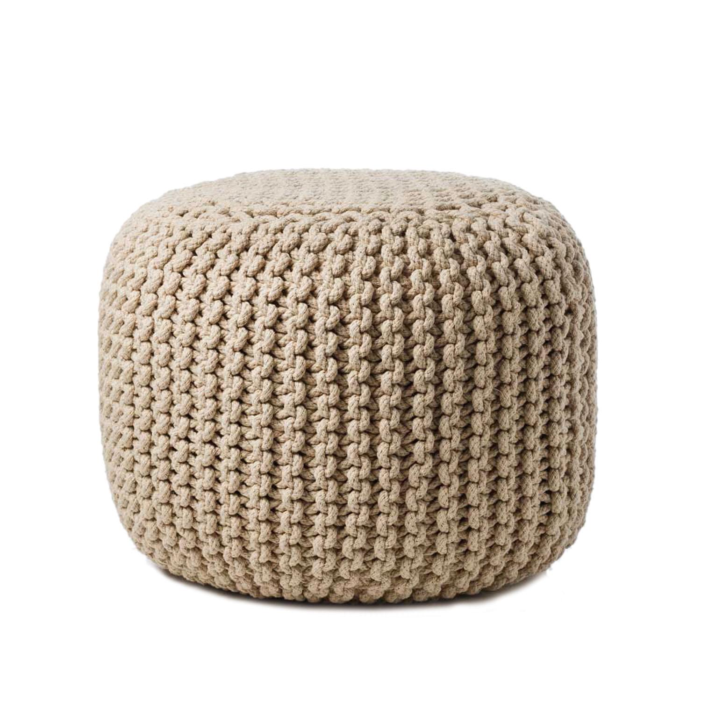 Home Republic hand-knitted wool ottoman, adairs.com.au