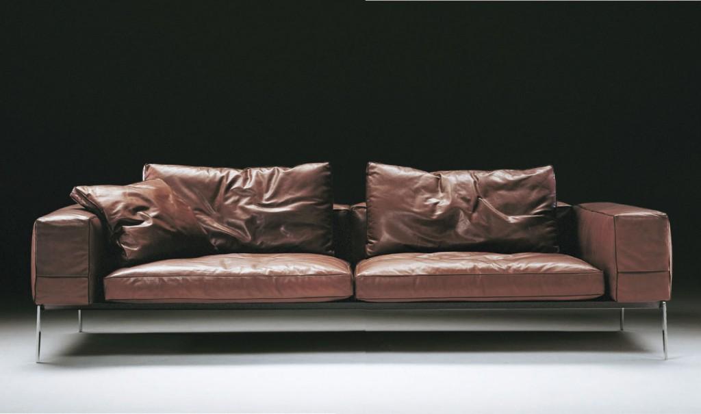 Lifesteel sofa in leather by Flexform, fanuli.com.au